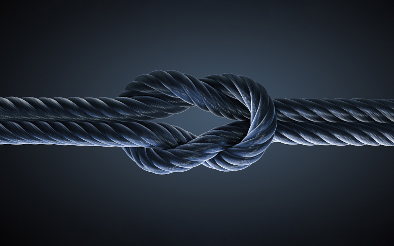 Tied rope on background for HCM system integrator partnerships teaser