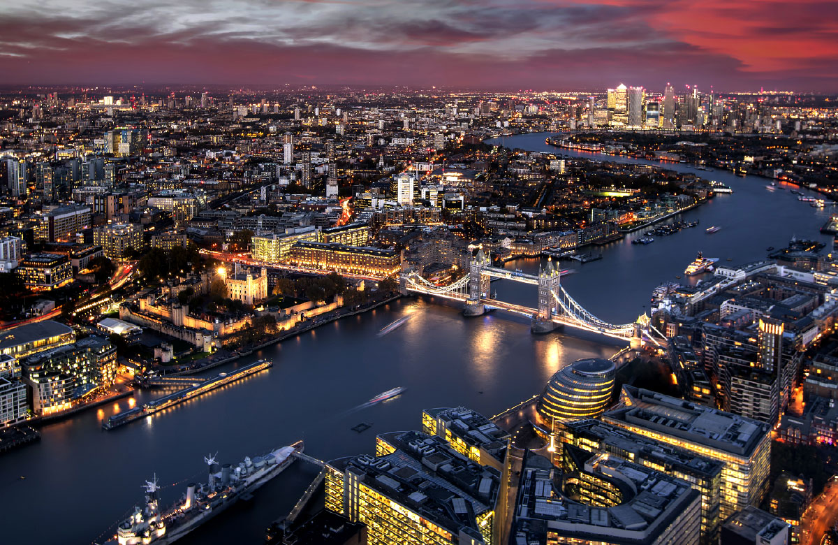 Aerial view of London, United Kingdom at night time