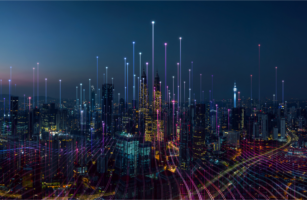 City skyline at dusk with overlay of lines and dots to create science fiction effect