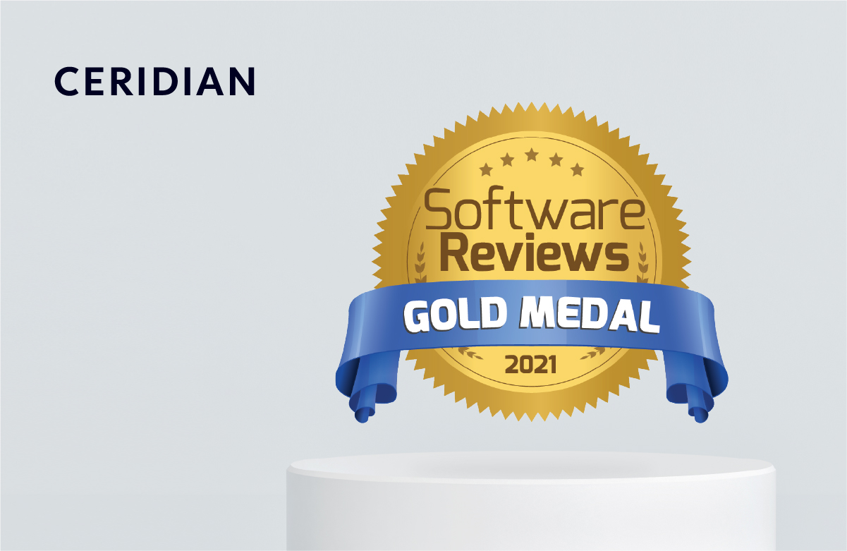 Gray background with gold medal badge for HCM enterprise software reviews