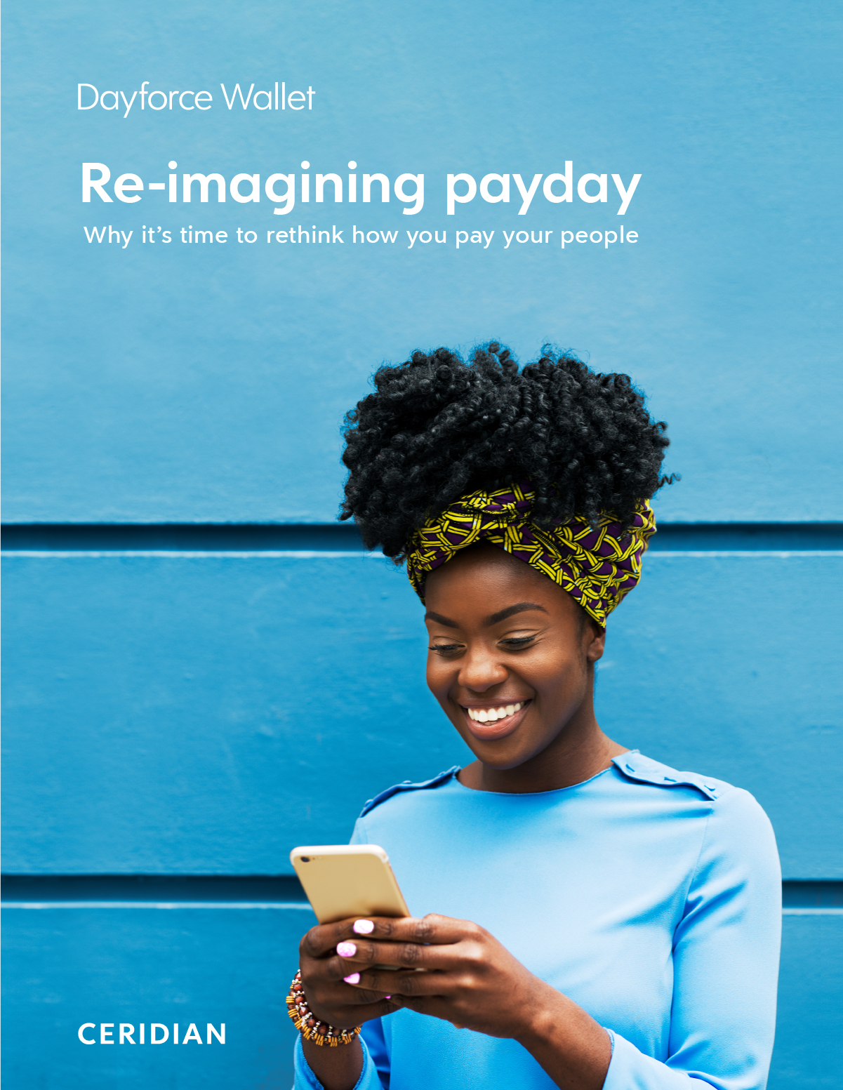 Report cover featuring bright blue wall and Black woman using mobile on demand pay app