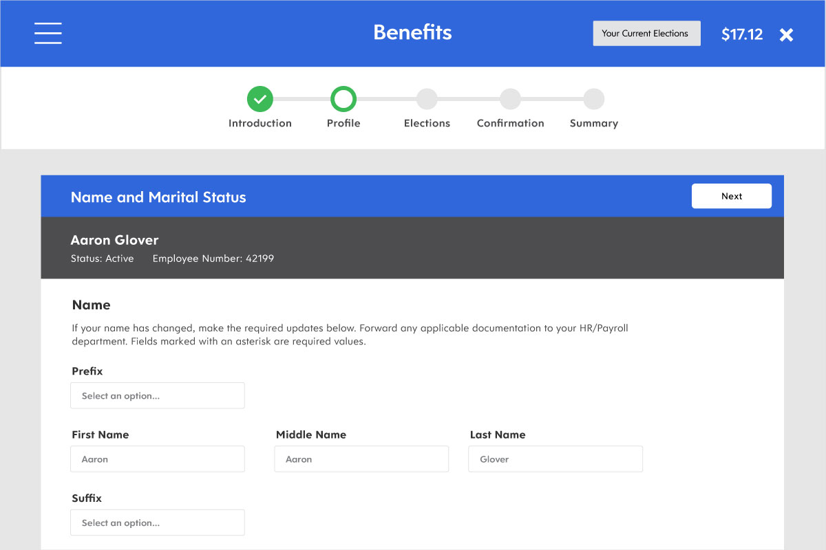 Screenshot showing how employee benefit options can be tailored with Dayforce