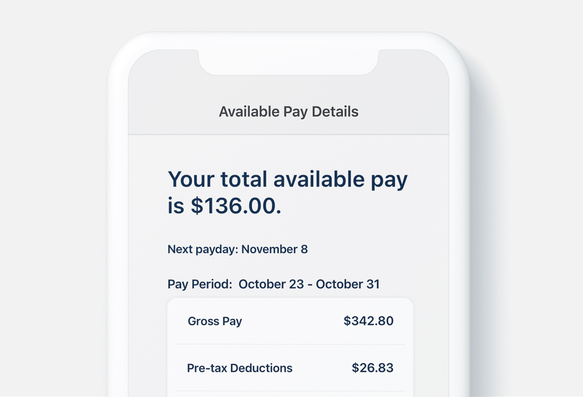 Screenshot of total available pay on Dayforce Wallet mobile app
